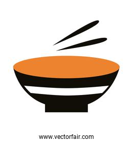 dish with chopstick silhouette style icon