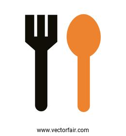 fork and spoon delivery service silhouette style