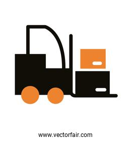 forklift with boxes carton delivery service silhouette style