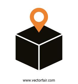 box carton with pin location delivery service silhouette style
