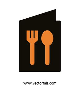 menu with fork and spoon delivery service silhouette style
