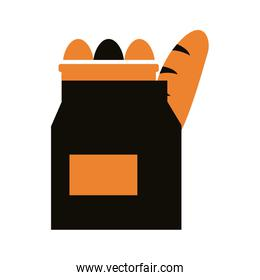 groceries in paper bag delivery service silhouette style
