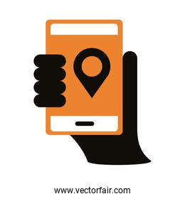 smartphone with pin location silhouette style icon