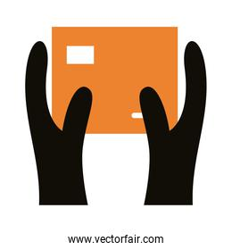 hands lifting box carton delivery service silhouette style