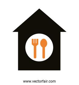 house with fork and spoon delivery service silhouette style