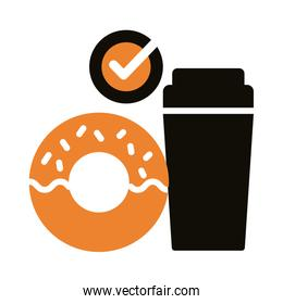 soda and donut silhouette style icon