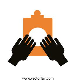 hands with checklist silhouette style icon
