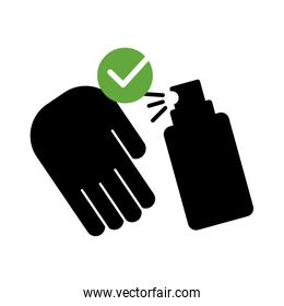 hand with spray bottle medical product silhouette style