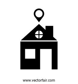 house with pin location silhouette style