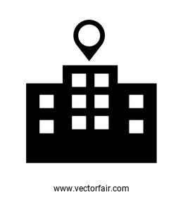 building facade with pin location silhouette style