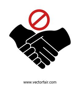 dont handshake contact silhouette style icon