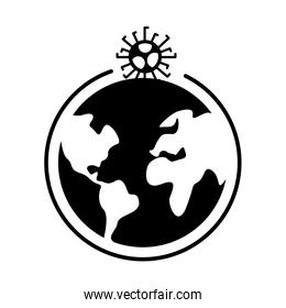 covid19 virus particle with earth planet silhouette style