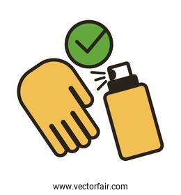 hand with spray bottle medical product line duo color style