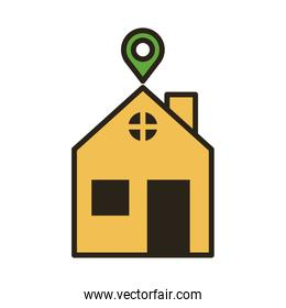 house with pin location line duo color style
