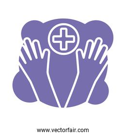 rubber gloves with medical cross block style icon