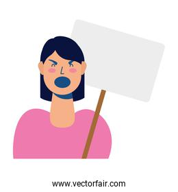 young woman protesting with placard