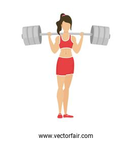 young athletic woman lifting dumbbell healthy lifestyle character
