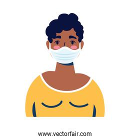 young afro woman wearing medical mask character