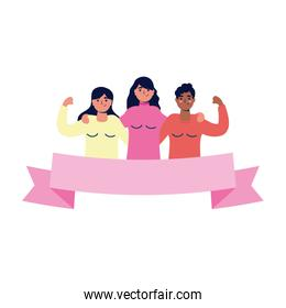 group of interracial young women characters