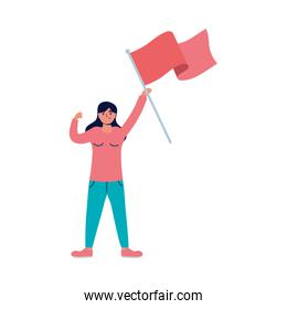 young woman protesting with flag