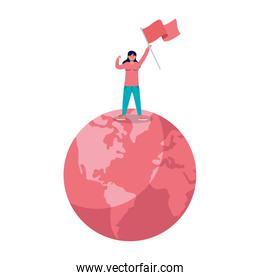 young woman protesting with flag in earth planet
