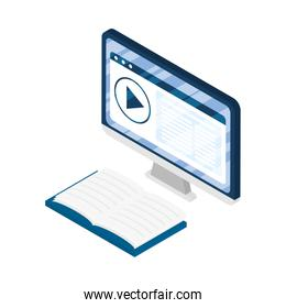 desktop electronic device with elearning books