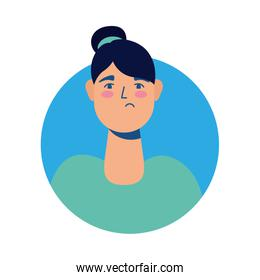 young woman sick avatar character