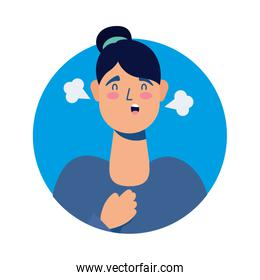 young woman sick with fever avatar character