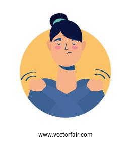 young woman sick with muscle pain avatar character