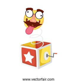 crazy emoji face with mustache in surprise box fools day