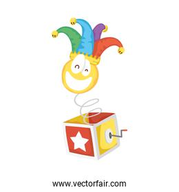 crazy emoji face with jester hat in surprise box fools day