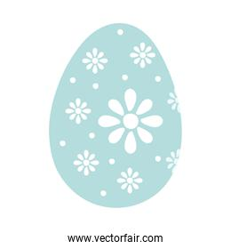 happy easter egg painted with flowers