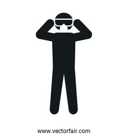 pictogram man wearing protective goggles and mask, silhouette style