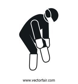 pictogram man wearing boots, gloves and protective mask, silhouette style