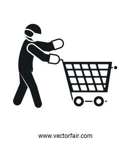 pictogram man with protective mask and gloves and shopping cart icon, silhouette style