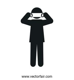 pictogram man wearing mouth mask icon, silhouette style