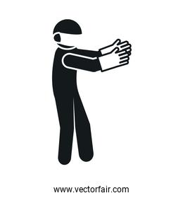 pictogram man wearing protective gloves and mouth mask, silhouette style