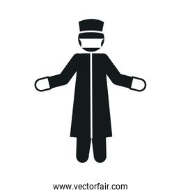 pictogram medical worker with antibacterial protective suit, gloves and mask, silhouette style