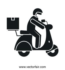 pictogram delivery man on a motorcycle wearing protective mask, silhouette style