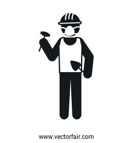 pictogram construction worker wearing mouth mask icon, silhouette style