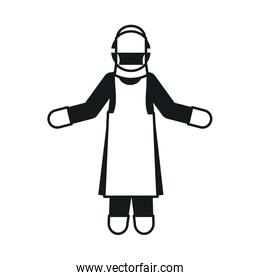 pictogram man wearing protective facial mask and gloves, silhouette style