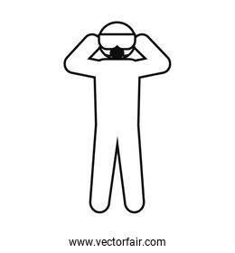 pictogram man wearing protective goggles and mask, line style
