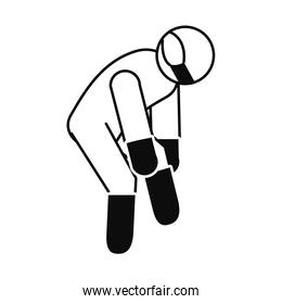 pictogram man wearing boots, gloves and protective mask, line style