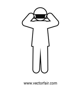 pictogram man wearing mouth mask icon, line style