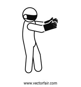 pictogram man wearing protective gloves and mouth mask, line style