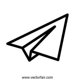 paper airplane icon, line style