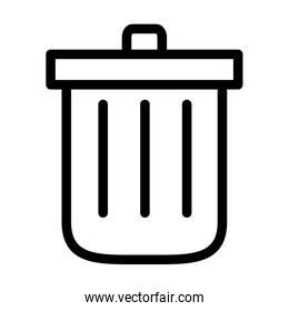 interface symbols concept, trash can icon, line style