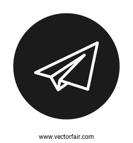 paper airplane icon, block style