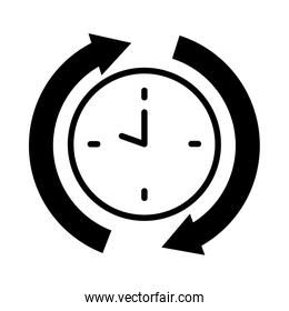 clock with sync arrows around, silhouette style