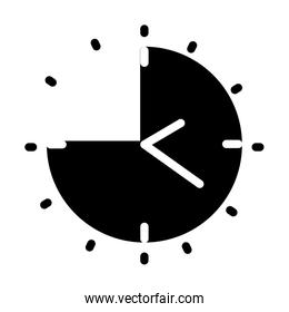 clock with shadow of Quarter to twelve clock or Quarter to midnight, silhouette style